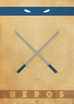 Posters minimalistas das Tartarugas Ninjas 4