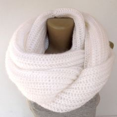 Chunky white infinity scarf ,knitted scarves , unisex ,men , women ,eternity scarf cowl neck ,neckwarmer , mohair scarf