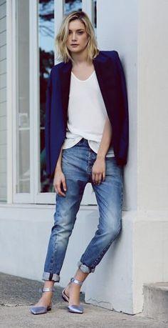 Mens blazer, white t-shirt, boyfriend jeans and pointy flats.
