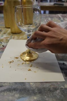 Ever wanted to add a little flare to your dinner table?  Gilded wine glasses are a great way to do it.  Luxury finishes on a small budget.