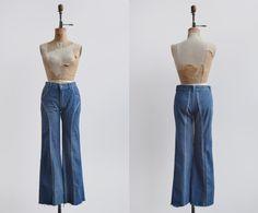 Rebel Rebel Flares / 1970s denim jeans / vintage leather trimmed denim by VictoryMills on Etsy https://www.etsy.com/listing/407074694/rebel-rebel-flares-1970s-denim-jeans