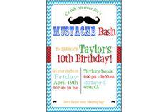 Chevron Mustache Birthday Digital Invitation by FancyShmancyStuff, $15.00