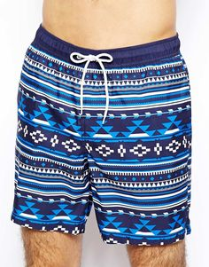 ASOS Swim Short In Aztec Print