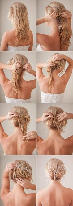 Hair Tutorial for a low messy bun. looks cute with accessories!: