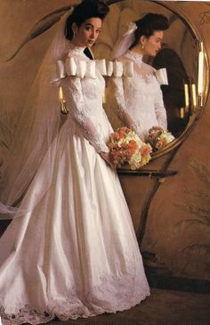 [Typical example of the excesses--especially in bridal wear--of the This is actually one of the better designs. 1980s Wedding Dress, Retro Wedding Dresses, Wedding Dress With Veil, Bridal Dresses, Wedding Gowns, Chic Vintage Brides, Vintage Weddings, Vintage Bridal, Bridal Lace