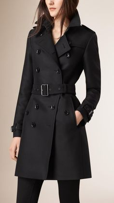 Black Cotton Wool Blend Twill Trench Coat Image 2 - Women Trench Coats - Ideas of Women Trench Coats Trench Coat Outfit, Coat Dress, Stylish Outfits, Cool Outfits, Fashion Outfits, Fashion Coat, Fashion Women, Burberry Coat, Burberry Women