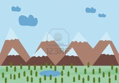 #illustration of small pines and mountains with a lake  #123rf #microstock #stockphoto
