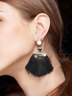 #Bead semicircle tasseled earrings  ad Euro 2.51 in #Jewelry #Moda