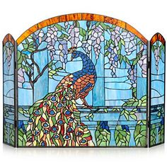 "Tiffany-Style 27"" Wisteria Peacock Stained Glass Fireplace Screen"
