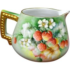 Limoges Blank Bavaria Hand Painted Strawberry Pitcher