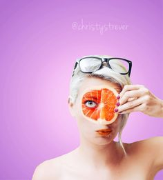 Grapefruit portrait #portraitswithfruit #fruitportrait #grapefruitportrait #fruitselfie #fruitfacepaint