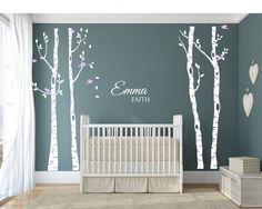 Enfants arbres & oiseaux Wall Decal, Vinyl Stickers arbre muraux, autocollant de mur de pépinière, de bouleau wall stickers---autocollant arbre bouleau avec nom