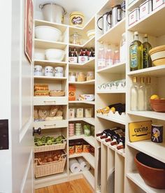 Perfect Pantry. Like the shelf for wine- either high or resting cradles. Floor to ceiling shelves. Spot for baking pans, bowls. Pull OT drawers for onions, fruit, etc