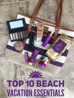 Top 10 beach vacation essentials! Skincare and makeup essentials. #travel #beachvacationessentials #younique Rosewater, spf moisturizer, BB cream, beachfront Bronzer, addiction eye palette, lip bonbon lip balm, lucrative lipgloss, 3D mascara, uplift beauty Serum, shine makeup remover cloths