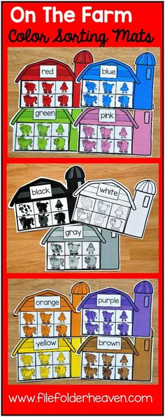 These Farm Themed Color Sorting Mats include 11 unique sorting mats that focus on sorting farm animals by color.  In a center or independent work station, students sort colored animals into the barn that is the same color.  Colored mats included are:  red blue green orange yellow pink purple brown gray black  white