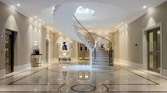 Knight Frank - Country Houses Department present this 6 bedroom detached house in Portnall Drive, Wentworth, Virginia Water, Surrey, House Plans Uk, Luxury Staircase, Home Developers, Floating Staircase, London Property, Rich Home, Residential Architect, Mansion Interior, Classic House