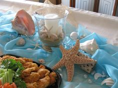 Beach Baby Shower - Kari, like the colors and shells and sea stars