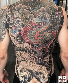 Tattoo by Ronnye Lee Reyes Chest And Back Tattoo, Full Back Tattoos, Back Tattoos For Guys, Badass Tattoos, Body Art Tattoos, Sleeve Tattoos, Japanese Dragon Tattoos, Japanese Tattoo Art, Body Tattoo Design