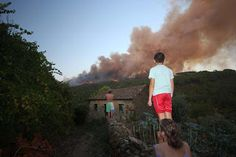 Watching the fire come down the hill, in Pera Portugal