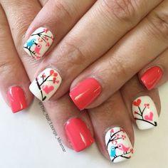 S day love bird nail art design nail art ногти, ди Fancy Nails, Love Nails, My Nails, Valentine Nail Art, Holiday Nail Art, Gorgeous Nails, Pretty Nails, Bird Nail Art, Romantic Nails