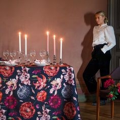 Floral Fantasia (Fantasy) pattern designed by Lasse Kovanen is inspired by a glorious mature garden. The white version bursts with pinks, peaches and greens, creating a fresh garden party vibe. The darker version is dramatic by nature and perfect for creating a cozy atmosphere to kitchen or festive table settings as autumn turns to winter. Peach And Green, Table Arrangements, Peaches, Pattern Design, Festive, Finding Yourself, Table Settings, Fabrics, Cozy