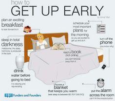 Moeite met opstaan?  Deze infographic geeft je een paar handige tips om s'ochtends gemakkelijker je bed uit te komen!  #slapen #slaaptips