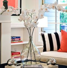 something about those pillows and that vase..and the framed art, black white and coral
