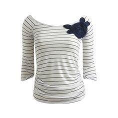 Stripe Rosette Tee - Teen Clothing by Wet Seal ($22) found on Polyvore