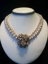 MIRIAM HASKELL Vintage 1940s Pearl Rhinestone Glass Pendant Gold Plate Necklace