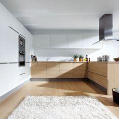 Oak and white German kitchen