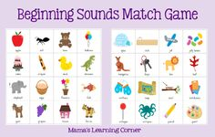 Beginning Sounds Match Game from Mama's Learning Corner