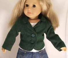 Olive green wool jacket fits american girl doll by mungermuffin, $15.00