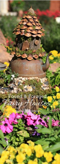 Found materials like mushrooms, pine cones, and branches make little foraged fairy houses so realistic looking, you would think they were made by fairies. #gardentherapy #naturecrafts #fairygarden