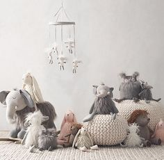 RH baby&child's Wooly Plush Elephant:A fine furry friend, designed with playful details every child will love, from the floppy legs and arms to the embroidered accents and lots of fun, different textures.
