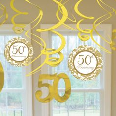 These decorative swirls will add class and springy foil fun to your anniversary celebration. Each package comes with 12 swirls measuring long with either a gold 50 or a cream circle with a gold s 50th Birthday Centerpieces, 50th Wedding Anniversary Decorations, Wedding Aniversary, Golden Wedding Anniversary, Anniversary Ideas, Anniversary Centerpieces, Wedding Decoration, Elegant, Swirls