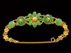 Vintage Chinese 20KT Gold Jade Bracelet.