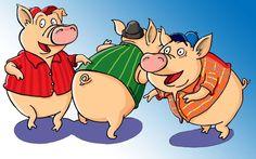 Three pigs- Photoshop Illustration Character development www.bretthudsonart.com