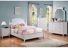 White Full Bed, Dresser & Mirror,Coaster Furniture