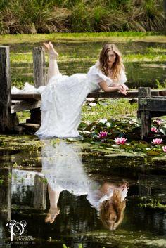 bridal portrait pond reflection - Google Search