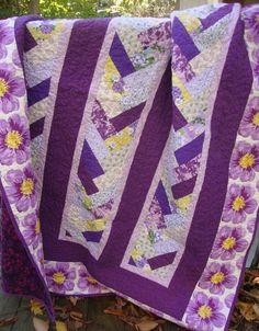 Lap Quilt Purple Braid Floral by MaryMackMadeMine on Etsy