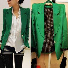 Korea Fashion Women Blazer Turn Down Collar Slim Single Button Jacket Suit Coats #Unbranded #Blazer