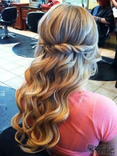 half up wedding hair- bridesmaid? This is cute the twist will match the twist on the dress!