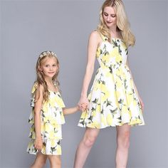 36.90$  Watch now - http://aliifx.shopchina.info/go.php?t=32688962858 - Mother Daughter Dresses Family Matching Outfits Lemon yellow women dersses & girl dresses High-grade Mother And Daughter Clothes 36.90$ #aliexpresschina