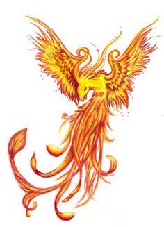 Fire Phoenix Tattoo Design