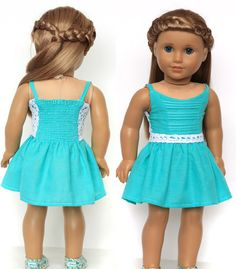 Liberty Jane Boomerit Falls Dress 18 Inch Doll Clothes Pattern PDF | Pixie Faire