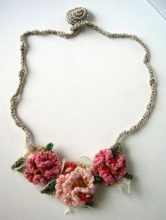 Crochet Pink Hyperbolic Floral Necklace by meekssandygirl, via Flickr