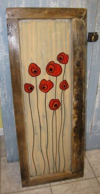 poppies on old window.  I would do this on canvas.