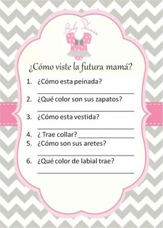 Juego baby shower