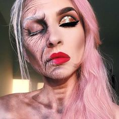 Old Lady Halloween Makeup Idea
