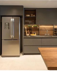 ✔ 50 creative modern kitchen cabinet design ideas for large space storage 41 ~ Ideas for House Renovations Kitchen Room Design, Luxury Kitchen Design, Contemporary Kitchen Design, Kitchen Cabinet Design, Home Decor Kitchen, Interior Design Kitchen, Kitchen Ideas, Luxury Kitchens, Home Kitchens